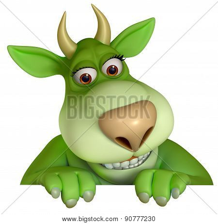 Green Cartoon Horns Monster 3D