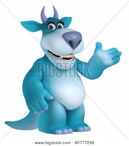 Blue Cartoon Monster 3D
