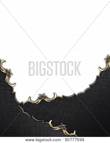 Template For Design. Template Of Black Texture With Gold Trim. Pattern For Backgrounds