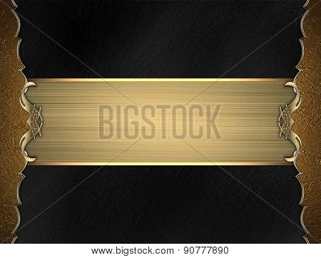 Template Gold Frame On Black Background With Gold Ribbon. Design Template. Design For Site