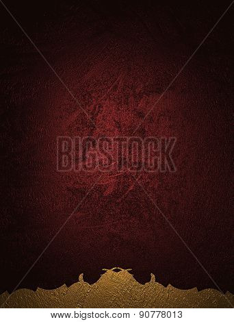 Grunge Red Background With A Pattern At The Edge. Design Template. Design For Site
