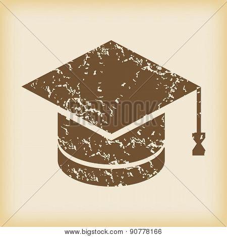 Grungy academic hat icon