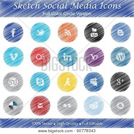 Sketch Social Media Icons (full Color Circle Version)