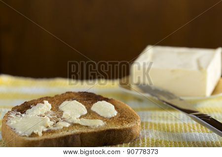 Slice Of White Buttered Toast