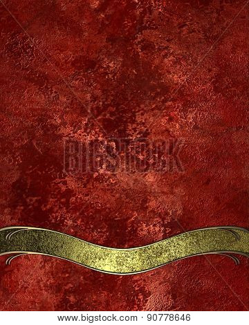 Abstract Red Background With Gold Ribbon. Design Template