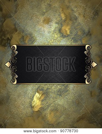 Abstract Yellow Background With Black Nameplate. Design Template