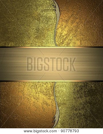 Abstract Gold Background With Gold Pattern And Plate. Design Template