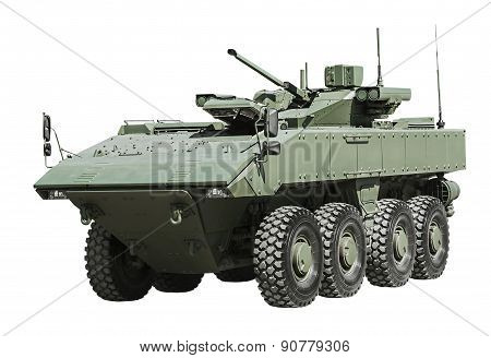 Armored Personnel Carrier On A Unified Platform Battle Isolated On A White Background
