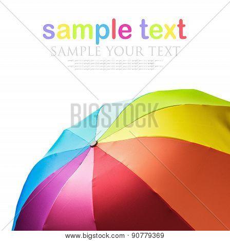 Colorful Rainbow Umbrella Isolated On White Background