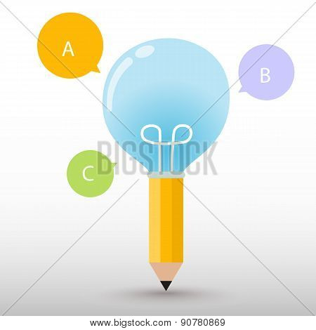 Pencil light bulb and bubble