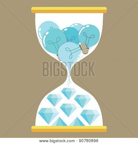 Blue diamond and blue bulb in hourglass