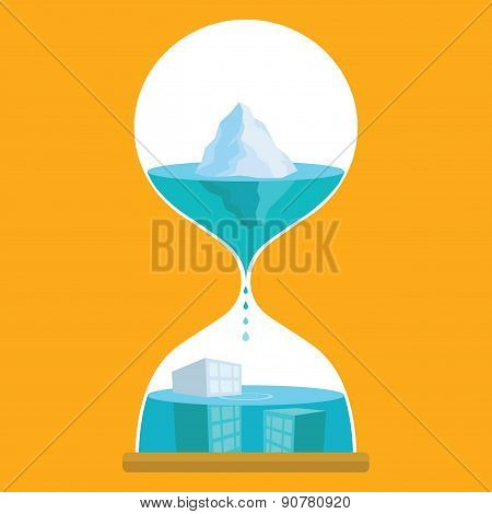 Melting ice in hourglass