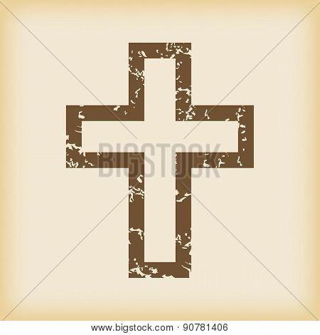 Grungy christian cross icon