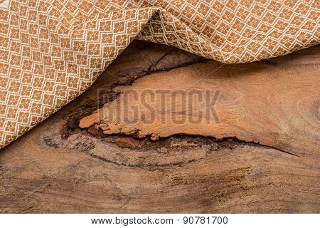 Wooden Cloth Cotton Fabric Texture Background Wooden Planks.