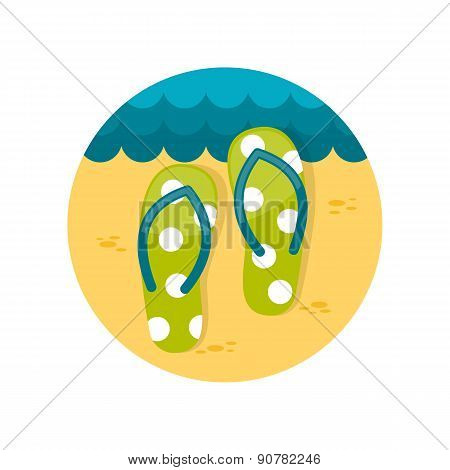 Flip Flops Flat Icon With Long Shadow