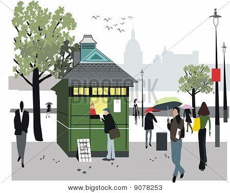 London newspaper stall illustration