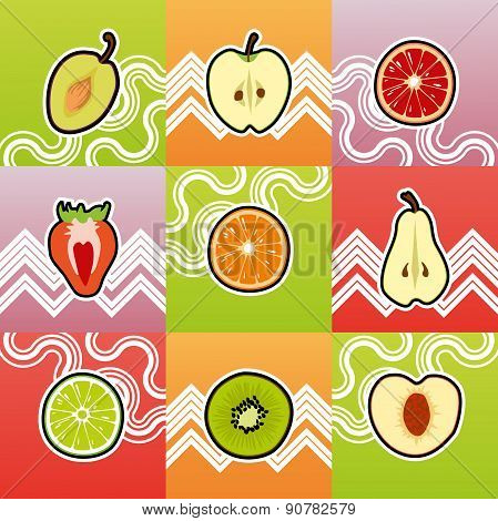 Set Of Funny Fruit Cross Section