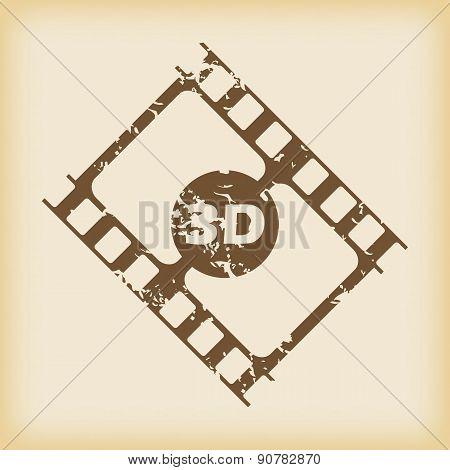 Grungy 3D film icon
