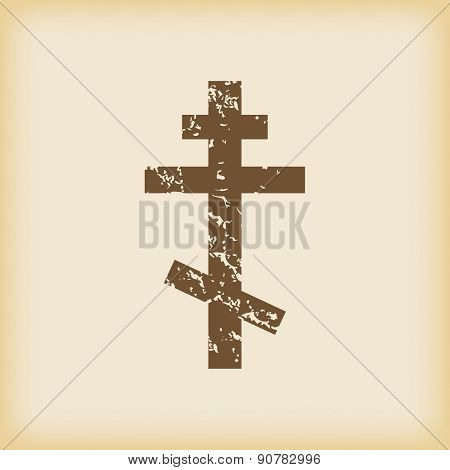 Grungy orthodox cross icon