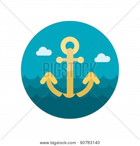 Anchor Flat Icon With Long Shadow