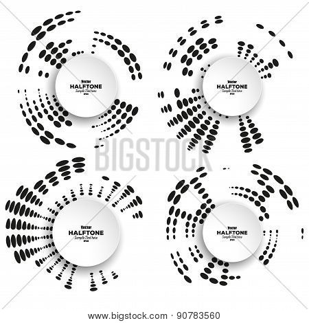 Set of circle halftone vector elements for your design