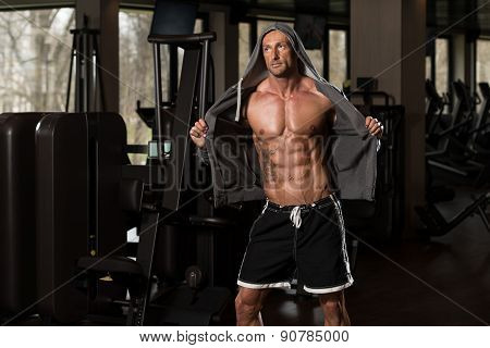 Mature Man In Hoodie Showing His Six Pack