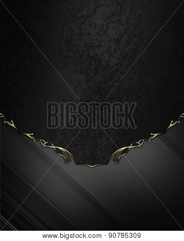 Abstract Black Background With Gold Pattern. Design Template. Design Site