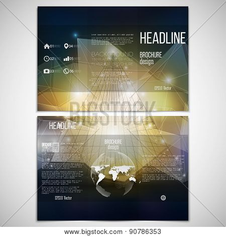 Vector set of tri-fold brochure design template on both sides with world globe element. Abstract 3D