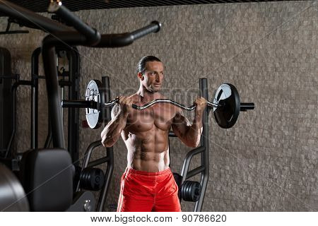 Bodybuilder Exercising Biceps With Barbell