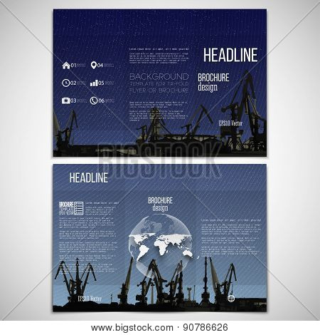Vector set of tri-fold brochure design template on both sides with world globe element. Shipyard, ha