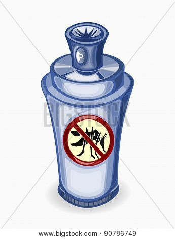 Illustration of spray for mosquitoes on a white background.