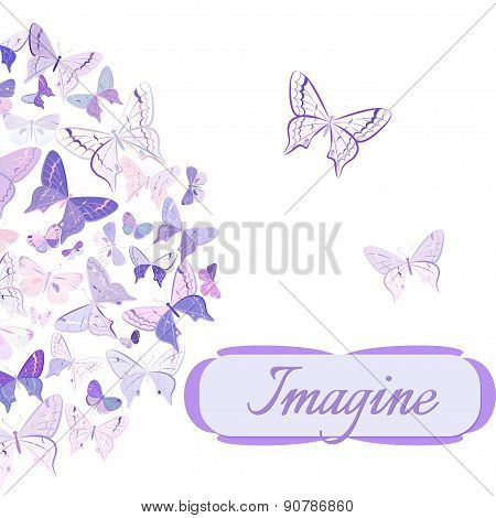 Card with butterflies arranged in semicircle