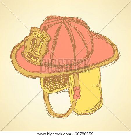Sketch Fire Helmet In Vintage Style
