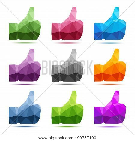 Set of 9 bright colorful geometric polygonal thumb up icons