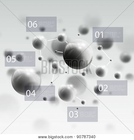 Three dimensional glowing steel spheres, gray background. Abstract molecules design. Scientific info