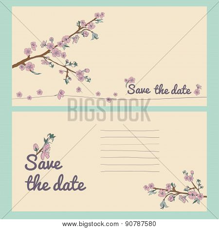 Set Of Flowering Hand Drown Cherry Blossom Card. Vintage Background