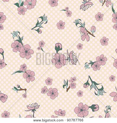 Flowering Hand Drown Cherry Blossom Seamless. Vintage Background