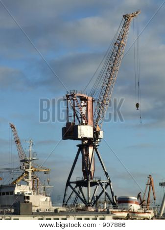 Crane At A Cargo Harbor In Russia