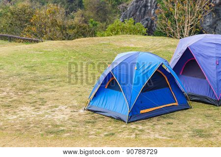 Dome Tent On Green Grass