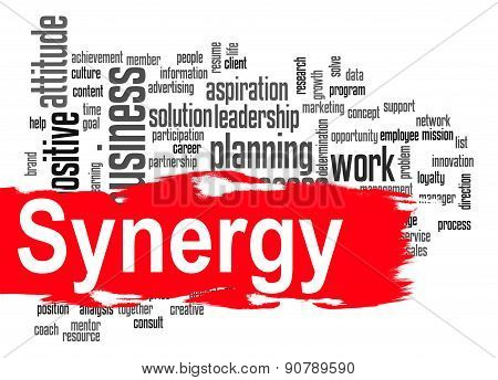 Synergy Word Cloud With Red Banner