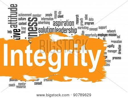 Integrity Word Cloud With Yellow Banner