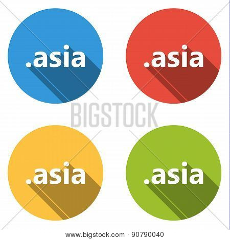 Collection Of 4 Isolated Flat Buttons (icons) For .asia Domain