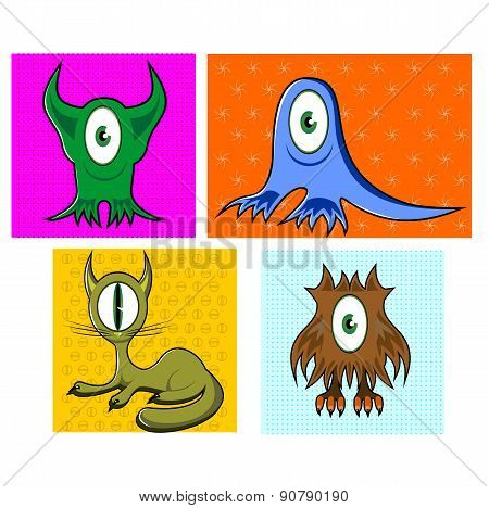 cartoon funny one eyed colorful animals