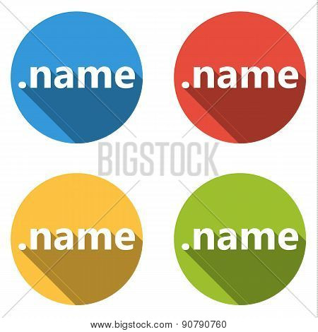 Collection Of 4 Isolated Flat Buttons (icons) For .name Domain
