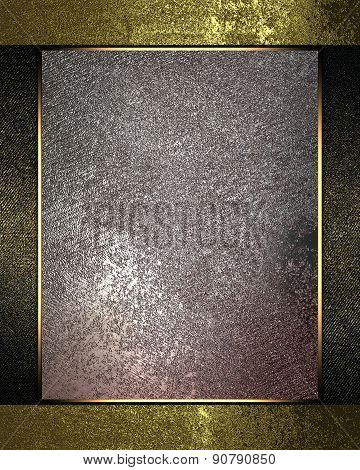 Grunge Gold Background With Metal Plate. Design Template. Design Site