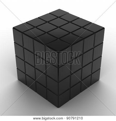 illustration of black cube assembling from blocks