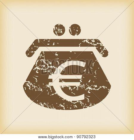 Grungy euro purse icon