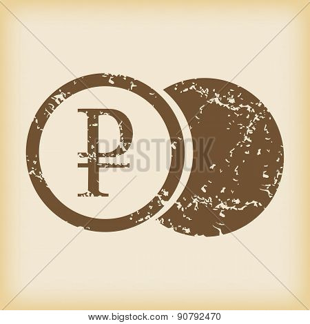 Grungy ruble coin icon