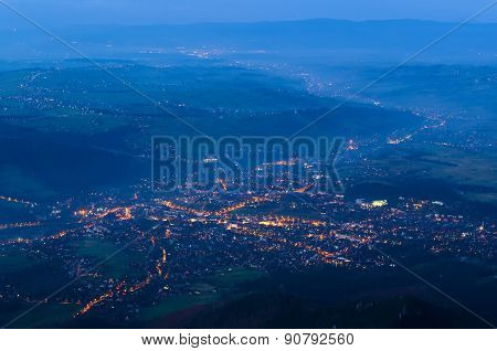 Town landscape at night.