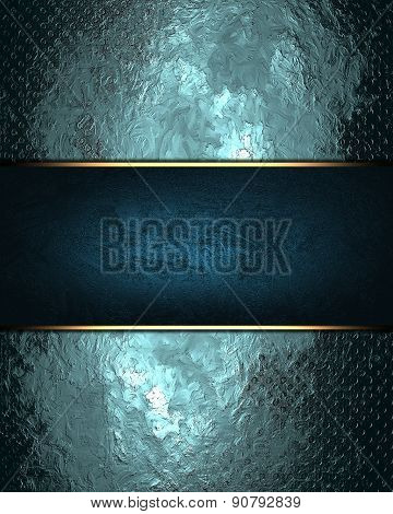 Abstract Grunge Gold Blue Texture With Blue Nameplate. Design Template. Design For Site